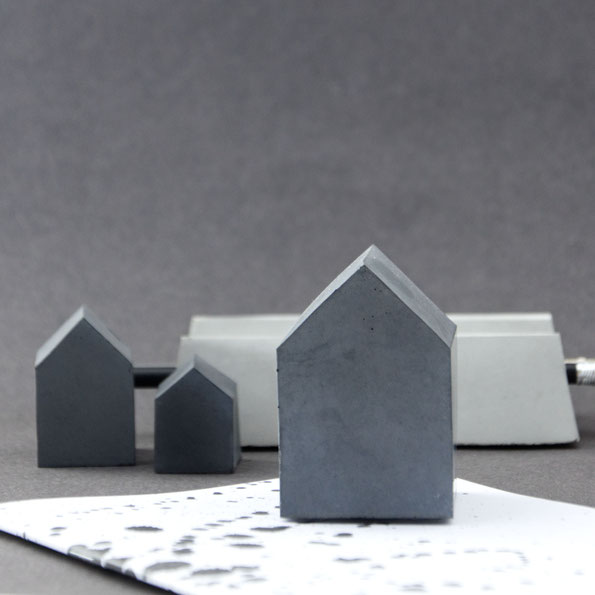 Concrete paperweight house sculpture set by PASiNGA