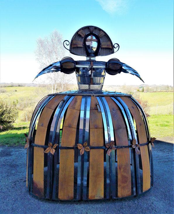 Sculpture acier carbone oxydé et inox poli Hauteur 150 cm
