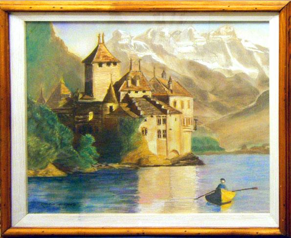 Шийонский замок. пастель