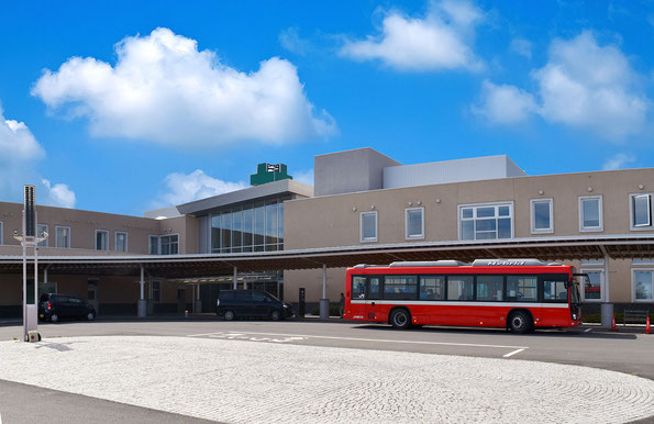 南三陸病院・総合ケアセンター南三陸(向かって左が病院、右がケアセンター)