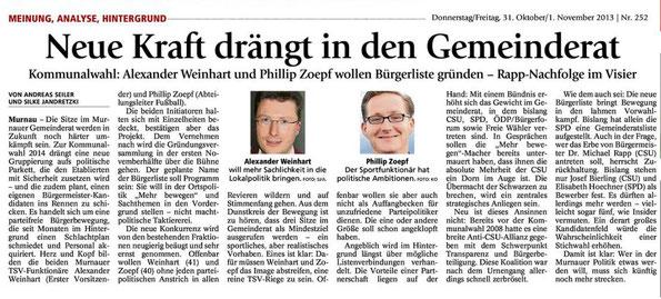 Murnau Mehr Bewegen Liste im Münchner Merkur
