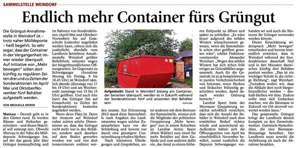 Sammelstelle Weindorf - Endlich mehr Container fürs Grüngut