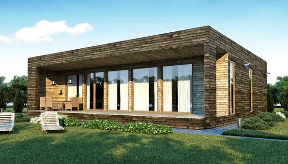 ле шале, строительство одноэтажное шале под ключ, ле шале куб, проект одноэтажного шале