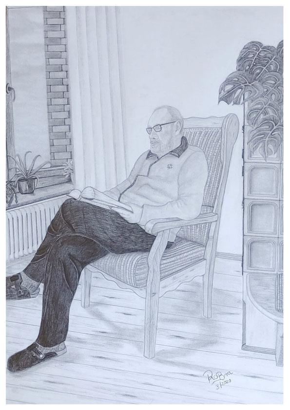 Lesestunde....zur Coronakrise , Bleistift auf Hahnemühle A2 , März 2020
