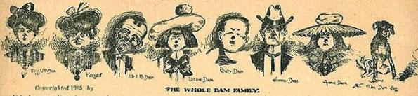 Humoristische ansichtkaart van de Familie Dam uit 1905