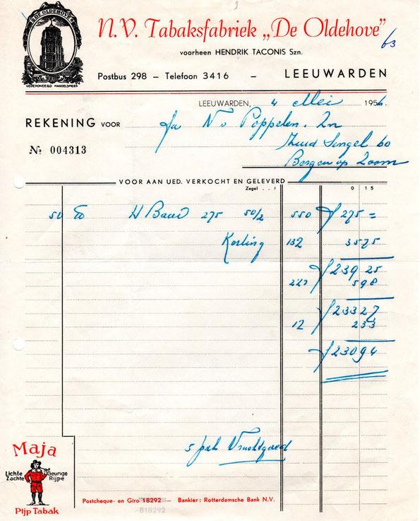 Nota van NV Tabaksfabriek De Oldenhove, uit 1956