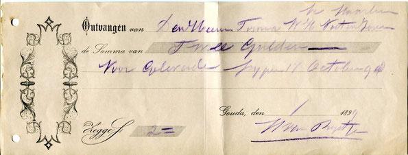 Kwitantie '1 1899' 2 Gulden voor geleverde pijpen 17 October 98', H van Rijst jr.