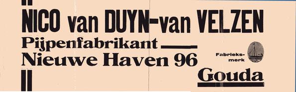 Zogenaamd kist etiket (afm 14x 44 cm) dat in/op een pijpenkistje ging, ca 1910-1940