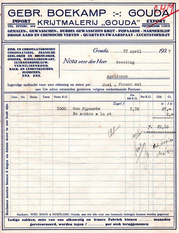 Nota uit 1926 van firma Gebroeders Boekamp voor de levering van Pijpaarde naar Apeldoorn