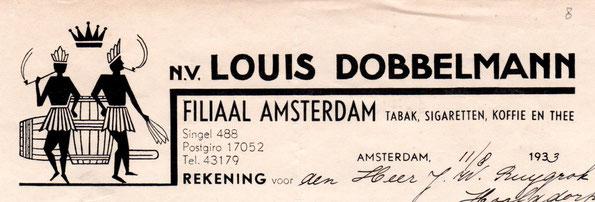 Briefhoofd van de firma NV Louis Dobbelmann, uit 1933