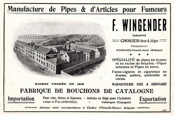 Reclame van de firma F Wingender uit de periode 1920-1930