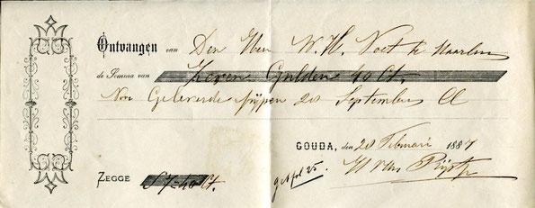 Kwitantie '28 Februari 1887', 7 gulden 40  voor geleverde pijpen 28 September door H. van Rijst jr