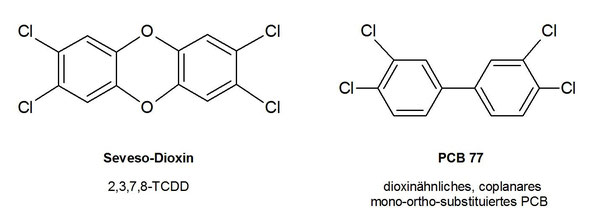 Strukturähnlichkeit von PCDD und bestimmten PCB (hier PCB 77)