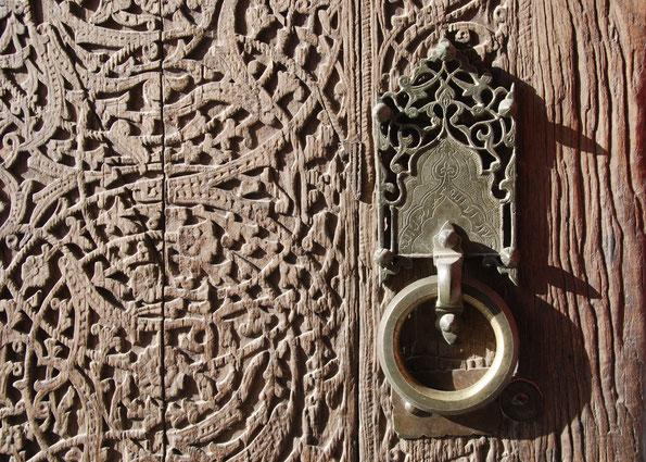 Detail am Westtor der alten Stadtbefestigung in Chiwa, auf der Seidenstraße in Usbekistan