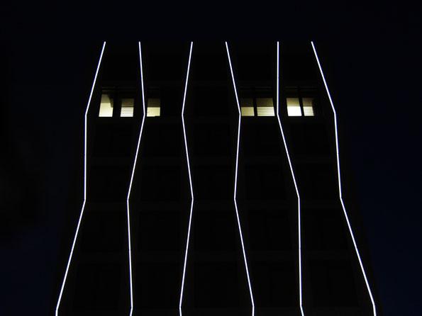 Düsseldorf, nächtliche Büro-Architektur
