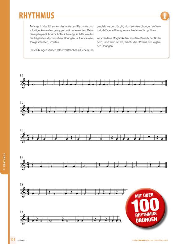 Rhythmus - Auszug aus dem Trompeten Trainer. Für Vergrößerung anklicken.