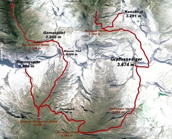 Tourenverlauf der Tauern Haute Route (Quelle: Google Earth)