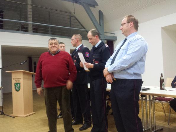 Die Kameraden Steffen Kaiser, Jens Feick, Ronny Paschold und Jens Klinke wurden zum Brandmeister befördert.