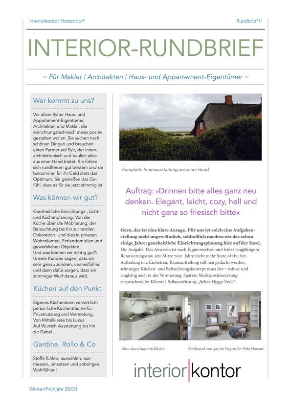 Diese Rundbriefe in 2 Seiten gehen als Papierausgabe an Makler, Architekten, Bauherren, Hausbesitzer