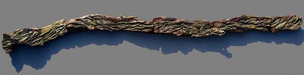 "Wander, 9"" x 72"" (6 ft.) x 6"", woodfired stoneware mounted on wood."