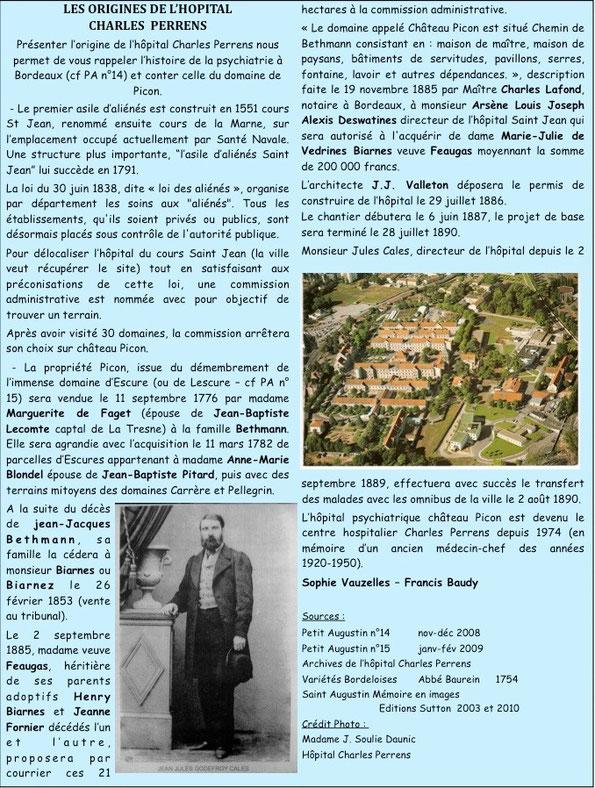 Les origines de l'hopital Charles Perrens
