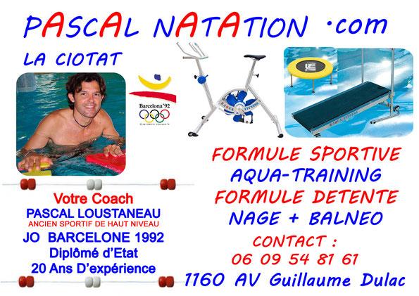 Pascal Natation La Ciotat vous propose dans la même séance Aquabike Aquarun Aquagym Aquajump Aquapalmes en circuit training de 45 minutes avec votre coach Pascal Loustaneau