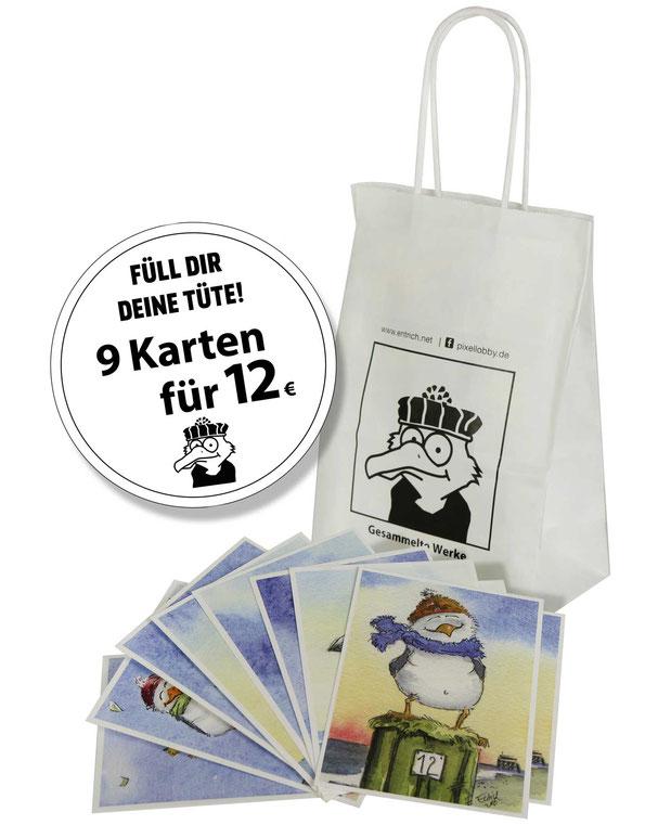 Aktion, Karten, Entrich, Aktionspreis, 10 Karten für 12 €, Meer, Möwen, Schafe, Super Preis, Weihnachten, Geschenk, lustig