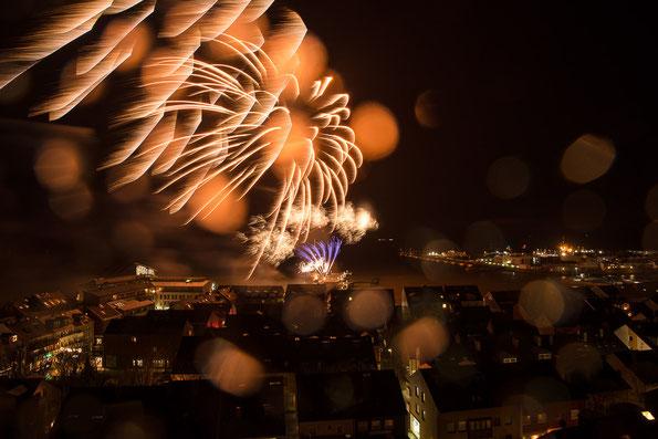 Feuerwerk über Helgoland