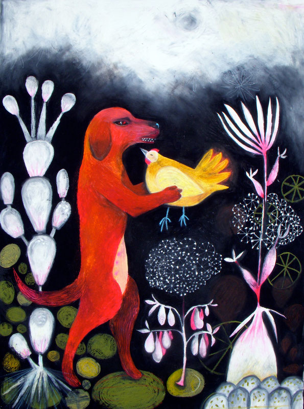 A large oil pastel drawing by Ande Cook of a Hound and Hen in a Night Landscape