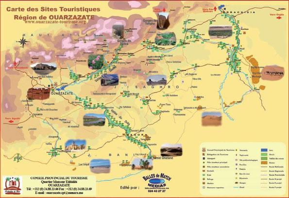 Carte des sites touristiques de la région de Ouarzazate