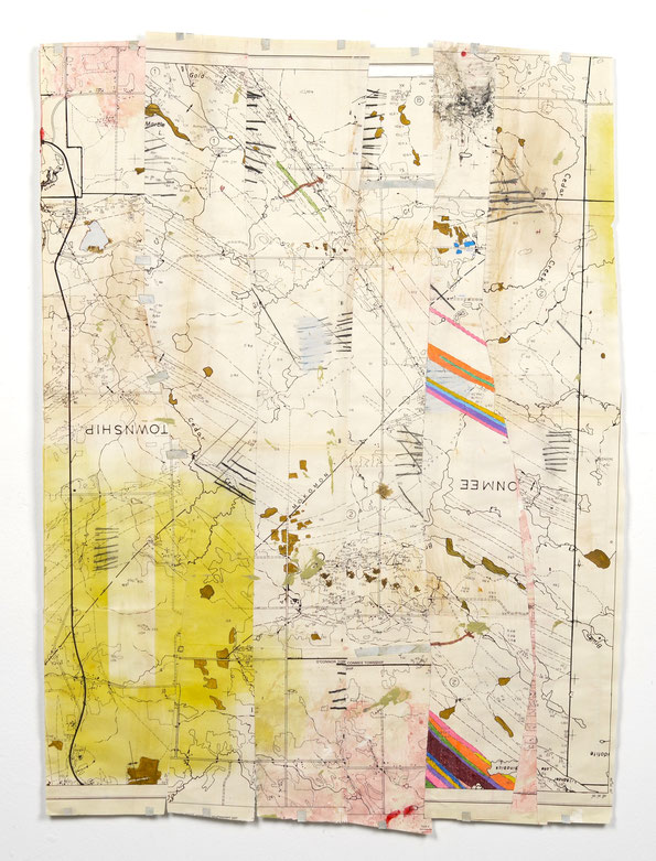 "Map No. 2, acrylic, gouache, drawing media & tape on collaged geological map, 32""x 24"", 2019. NFS"