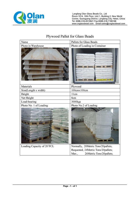 Plywood Pallets for Glass Beads
