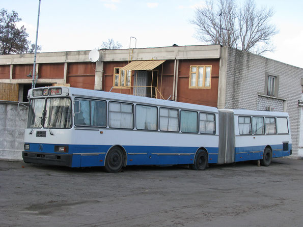 Городской сочлененный автобус ЛАЗ-6205. Кременчуг. Территория АТП-15307. 31/03/2010. Фото Ольги Москалевой