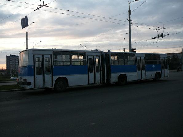 Городской автобус особо большой вместимости Ikarus 280.64. Минск. 11/04/2007