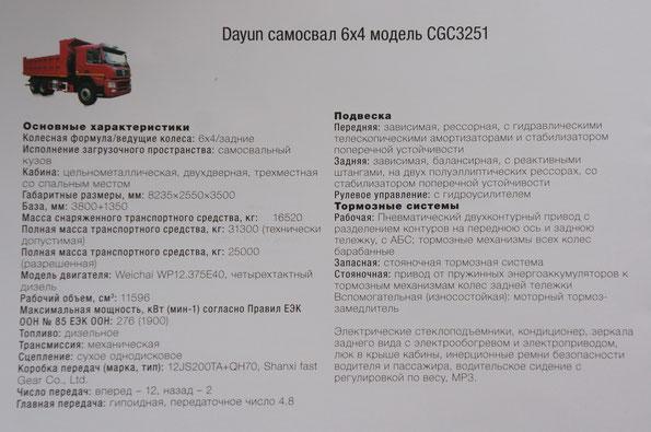 Техническая характеристика самосвала Dayun CGC3251