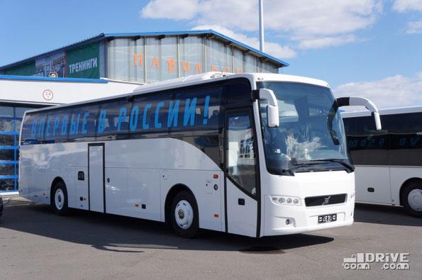 Премьера междугородно-туристского автобуса Volvo 9500 на шасси Volvo B9R состоялась на фестивале Мир автобусов в прошлом году – именно тот автобус и показан на фото. Габаритные размеры – 12290х2550х3607мм