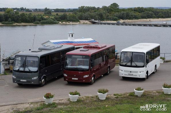 Автобусы семейства ПАЗ Вектор на берегу Оки. Павлово. 24/08/2012