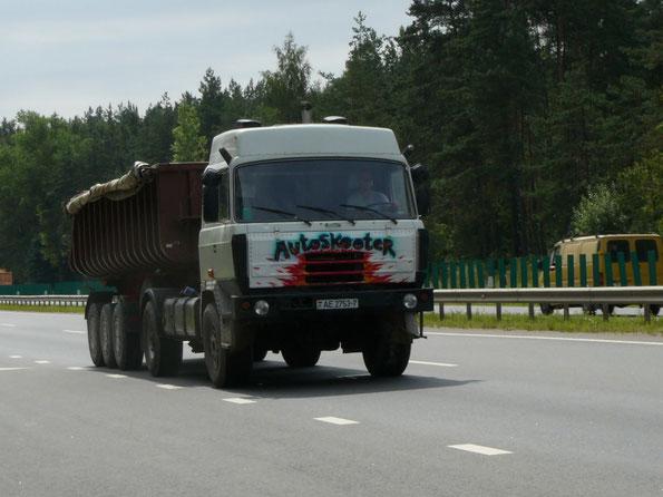 Седельный тягач TATRA T815 N 4Х4.1 с увеличенной по высоте кабиной. Трасса Минск - Заславль. 03/08/2009