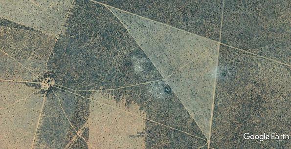 Google Earth-Ausschnitt: Verbuschte und entbuschte Flächen am Waterberg - copyright Google Earth