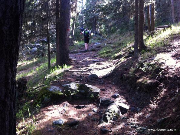 non manca un pò di spintage/portage...... 20 minuti di attraversamento bosco