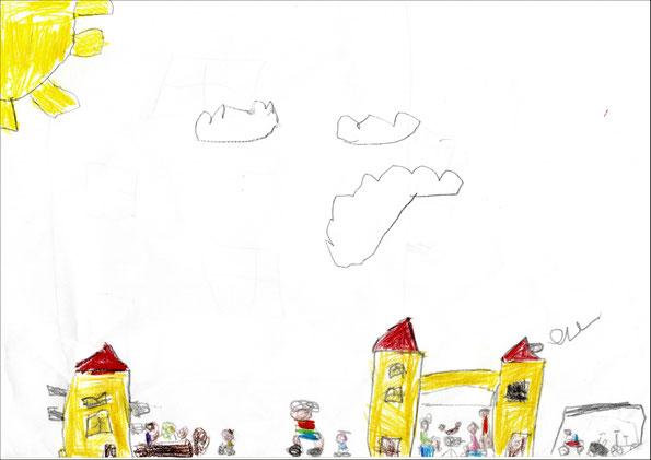 Antonia (5) stellt sich schon ein Grillfest vor dem Gemeinschaftsraum vor.