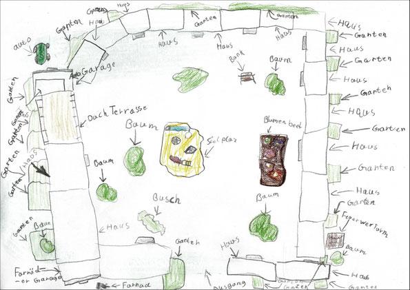 Marius (8) nähert sich dem Projekt aus der Vogelperspektive.
