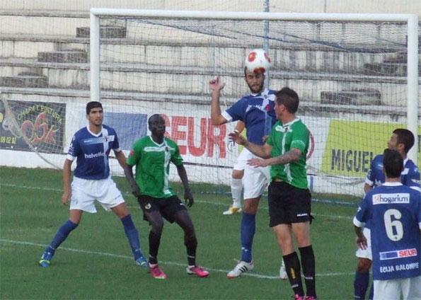 El Écija, en el último partido de Liga en San Pablo ante el Cacereño. Foto: www.ciberecija.com