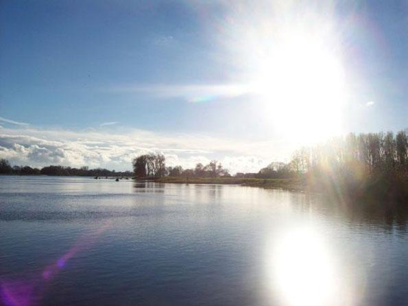 Sonnenschein beim Überqueren der Elbe mit der Fähre