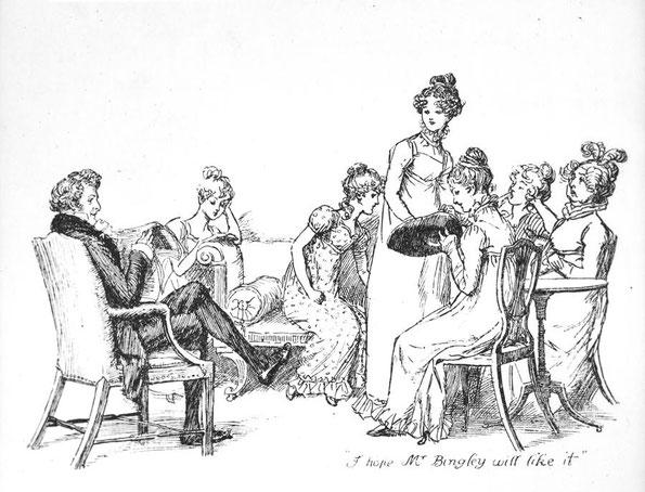 Ilustración de Hugh Thomson para la edición de 'Pride and Prejudice' de 1894.