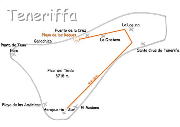 Bild: Karte von Teneriffa mit den Sehenswürdigkeiten
