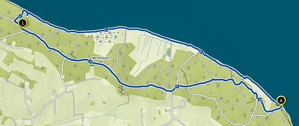 Bild: Wanderroute Nørreskoven Insel Als