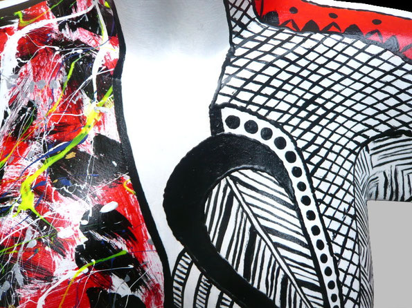 Torso 12 / 12, Skulptur, schwarz, rot, weiss, abstrakt, Art, Kunst, Malerei, Original, Unikat, Kunststoff, Acryl, Detail