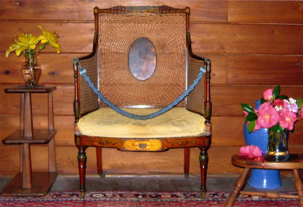 Baba's chair in the Lagoon Cabin - photo by Sher DiMaggio Zois