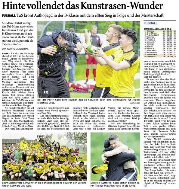 ©Ostfriesen-Zeitung Emden, Ausgabe vom 28.05.2019
